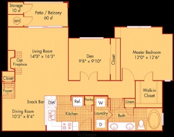 956 sq. ft. A5 floor plan
