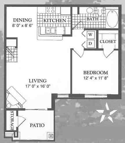 775 sq. ft. Chateau floor plan
