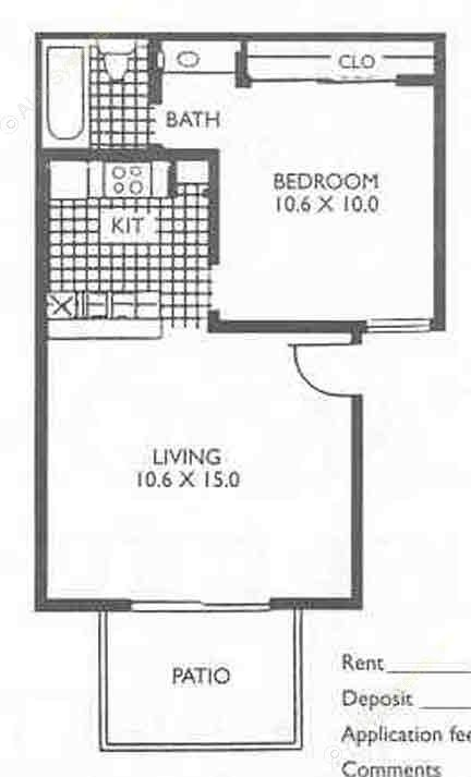 477 sq. ft. A floor plan