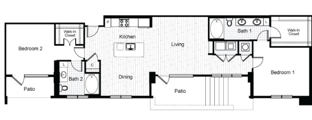 1,336 sq. ft. B6 floor plan