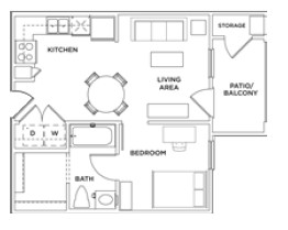 488 sq. ft. 1x1 A floor plan