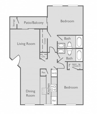 1,007 sq. ft. E floor plan