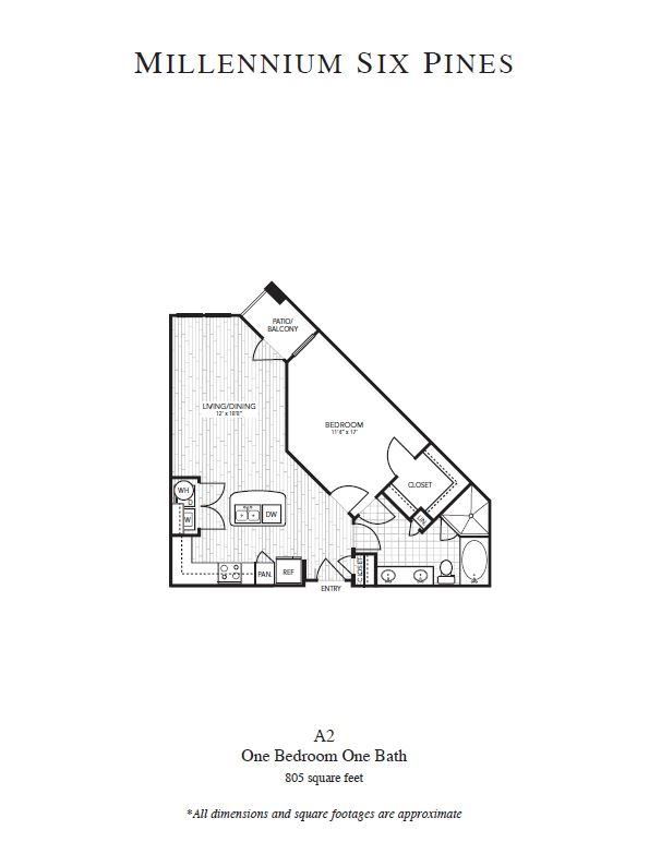 805 sq. ft. A2 floor plan