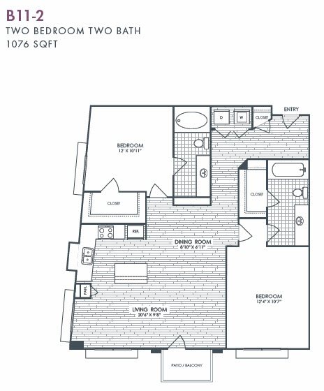 1,076 sq. ft. B11-2 floor plan