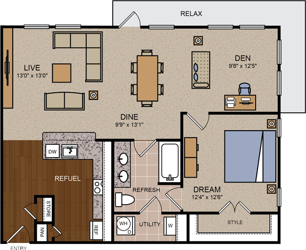 1,008 sq. ft. A5 floor plan