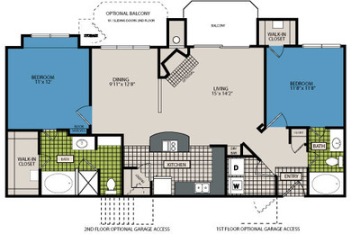 1,135 sq. ft. C3 floor plan