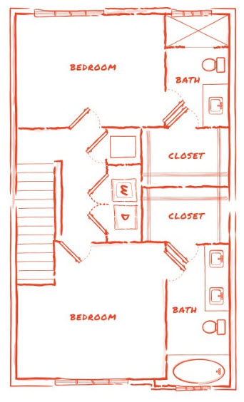 1,413 sq. ft. TH2 floor plan