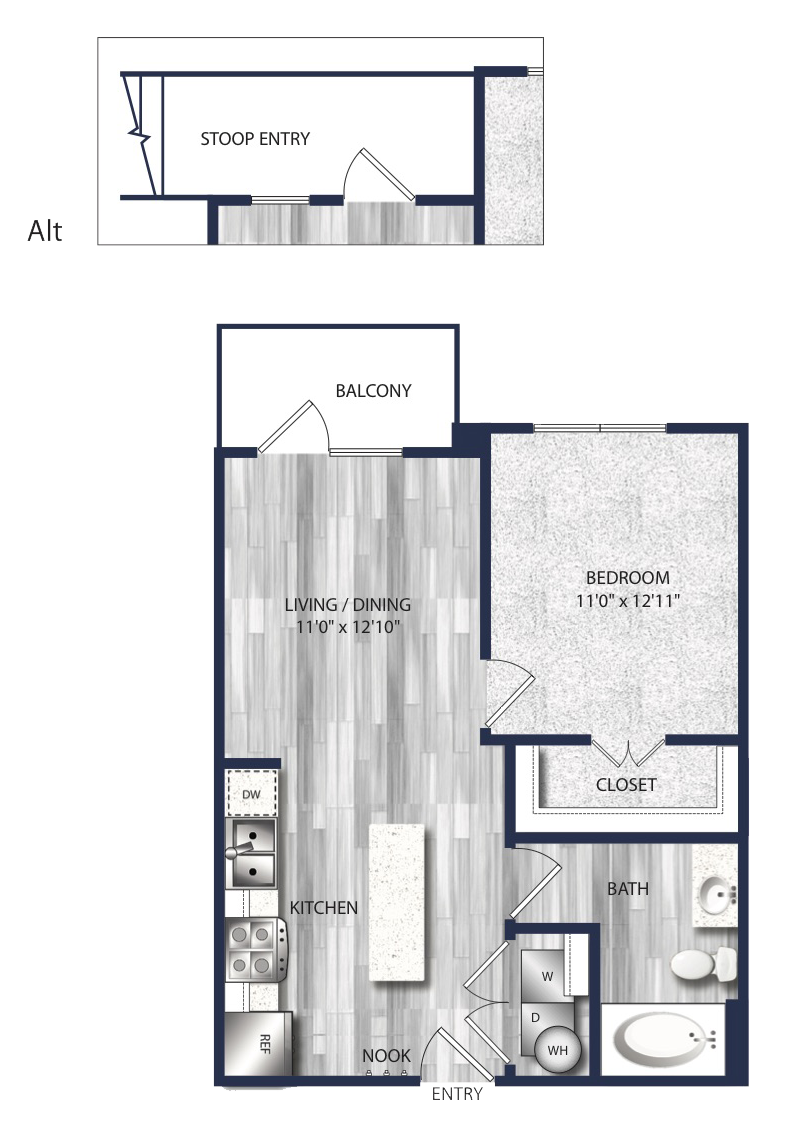 578 sq. ft. to 619 sq. ft. A1 floor plan