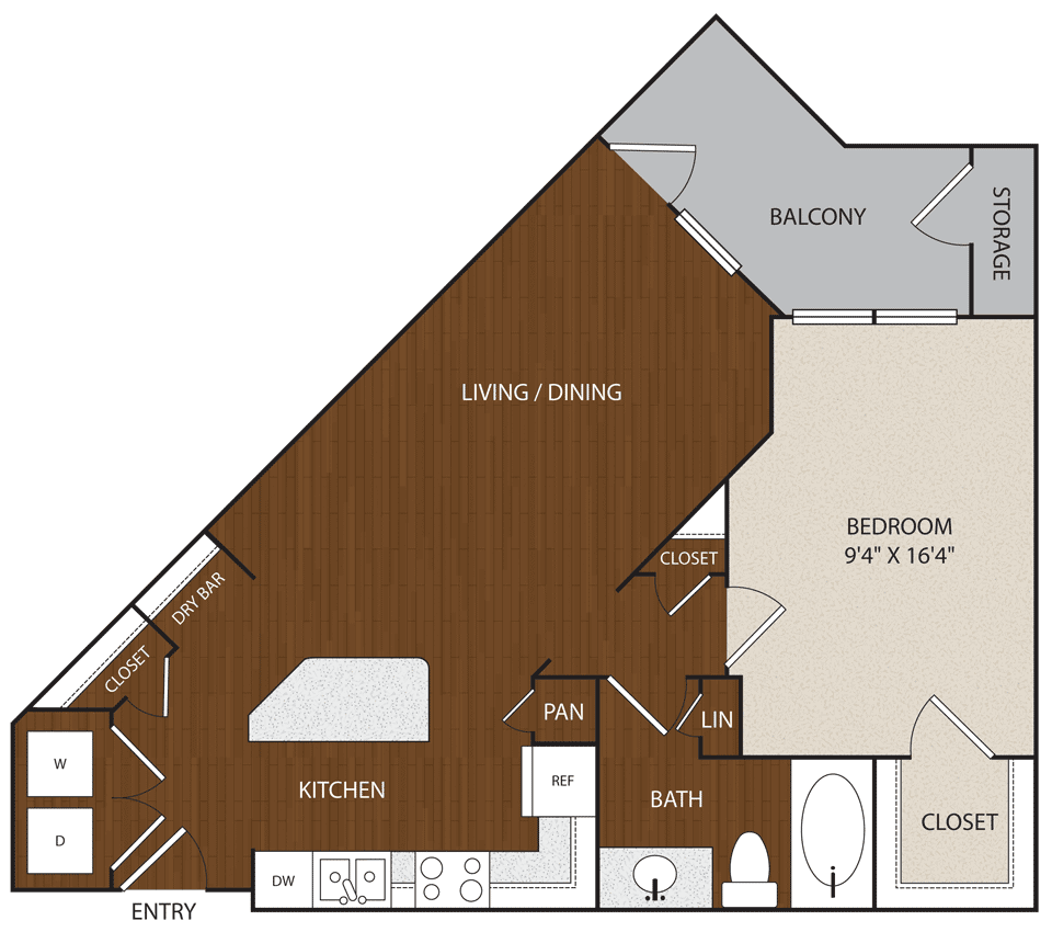 772 sq. ft. A5 floor plan