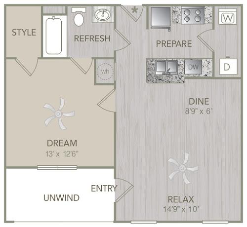 695 sq. ft. A1L floor plan