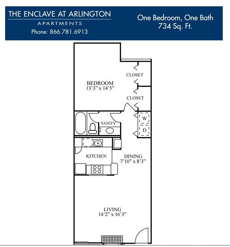 734 sq. ft. E floor plan