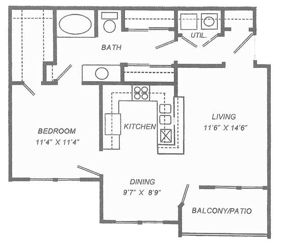 761 sq. ft. A1 floor plan