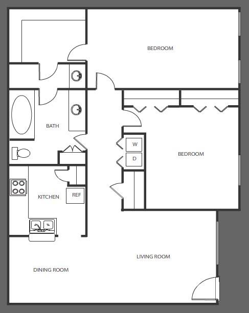 1,011 sq. ft. D floor plan