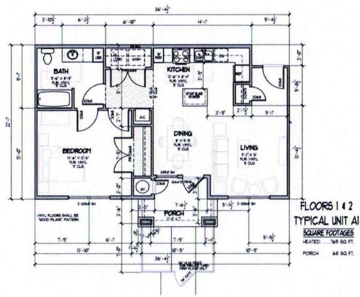 765 sq. ft. A1-50% floor plan