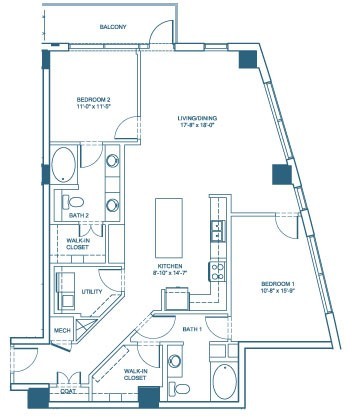 1,430 sq. ft. B5 floor plan