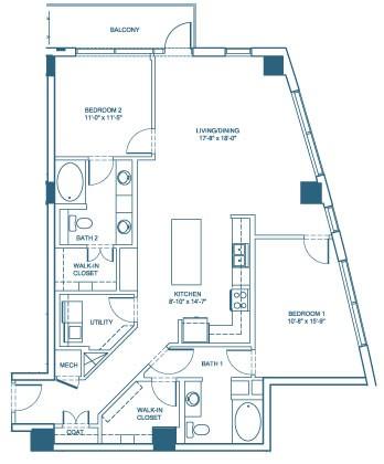 1,430 sq. ft. B5 floor plan
