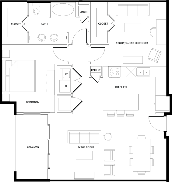 1,091 sq. ft. A11 floor plan
