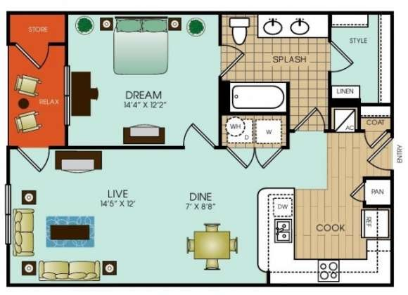 810 sq. ft. to 812 sq. ft. floor plan
