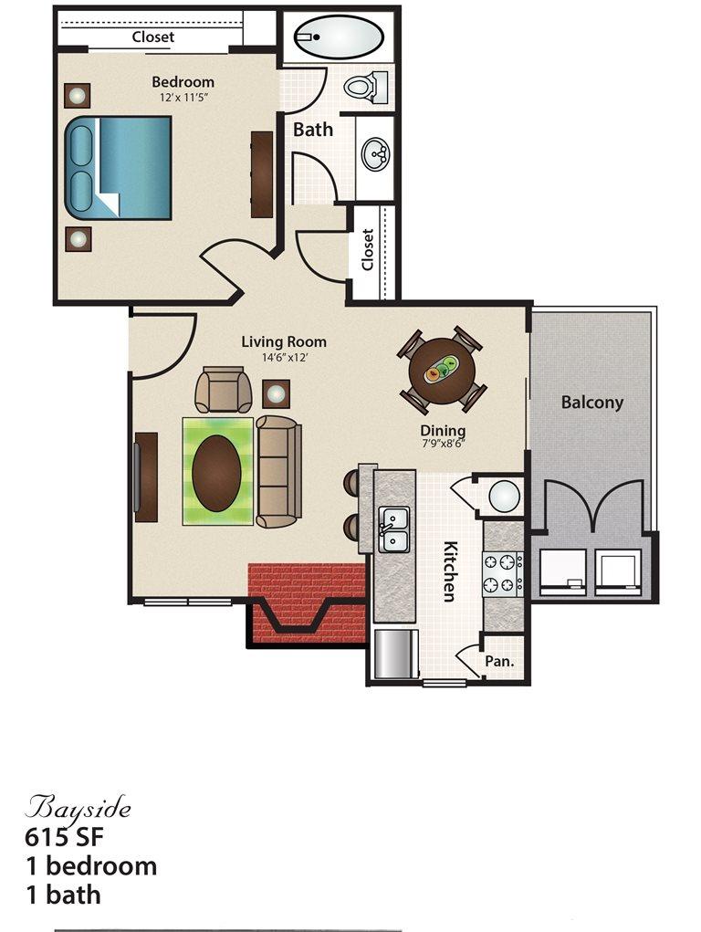 615 sq. ft. Bayside floor plan