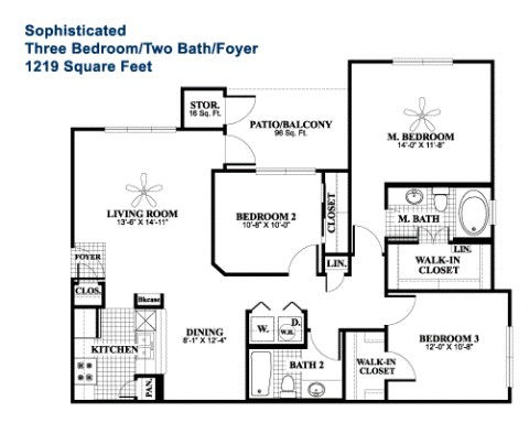 1,219 sq. ft. Sophisticated floor plan