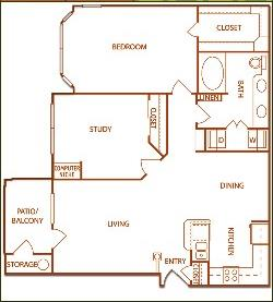 1,057 sq. ft. B2-Meadow floor plan