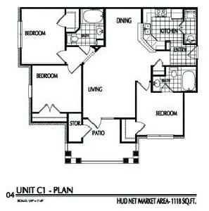 1,118 sq. ft. C1/60% floor plan
