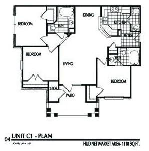 1,118 sq. ft. C1/60% floor plan