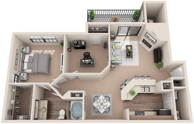 911 sq. ft. A4U floor plan