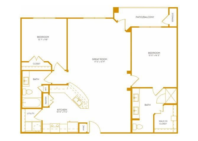 1,266 sq. ft. B5 floor plan