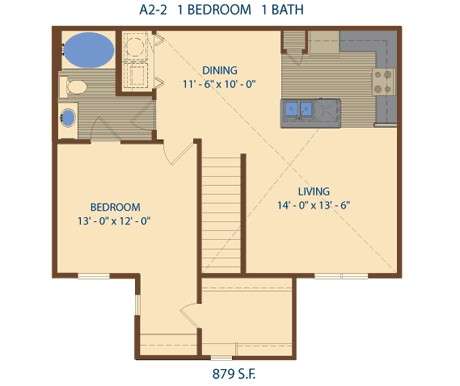 879 sq. ft. A4 floor plan