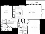 1,200 sq. ft. Harrison floor plan