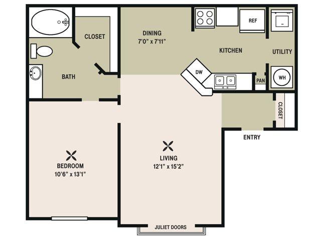 706 sq. ft. Affirmed floor plan