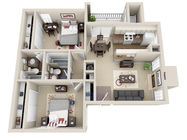840 sq. ft. D floor plan