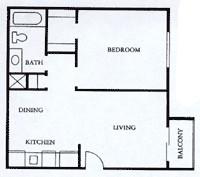 518 sq. ft. A1 floor plan