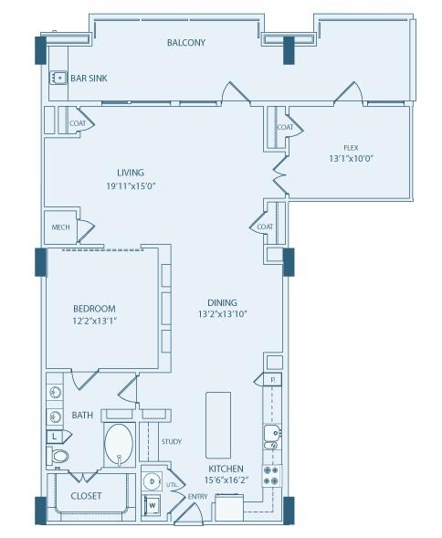 1,416 sq. ft. A6A floor plan