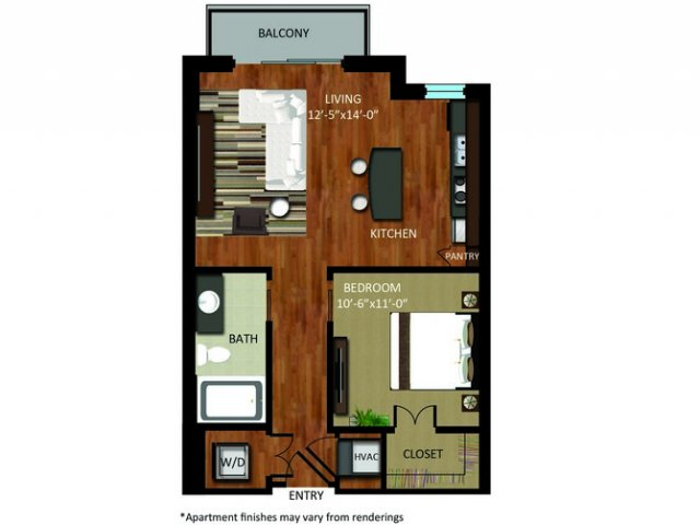 649 sq. ft. A2 floor plan