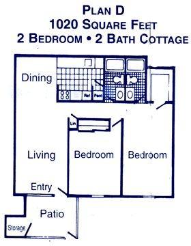 1,020 sq. ft. D floor plan