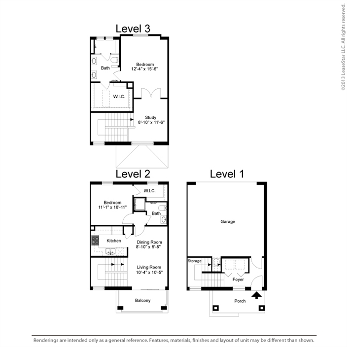 1,194 sq. ft. B1 floor plan