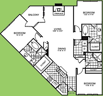 1,550 sq. ft. C3R floor plan