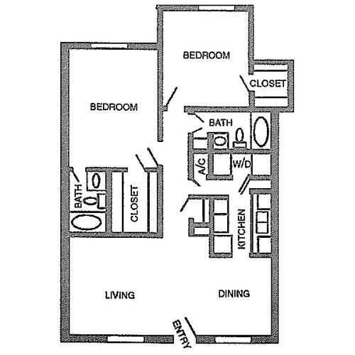 1,070 sq. ft. D floor plan