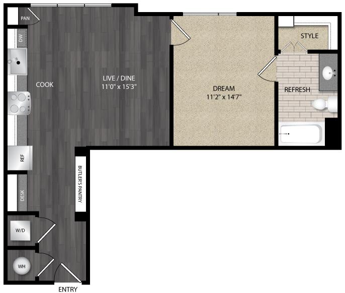726 sq. ft. E4 floor plan