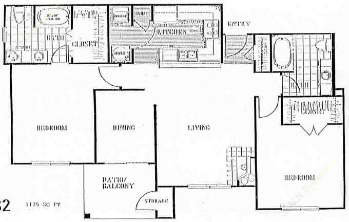 1,030 sq. ft. to 1,128 sq. ft. E floor plan