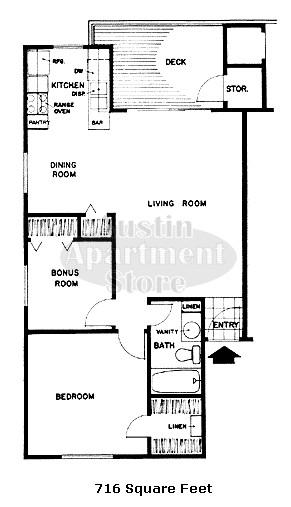 716 sq. ft. 50% floor plan