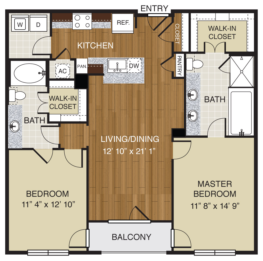 751 sq. ft. A3.1a floor plan