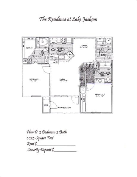1,024 sq. ft. D floor plan
