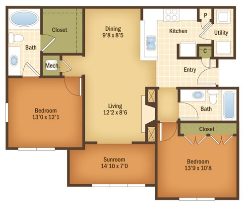 1,191 sq. ft. Juniper floor plan