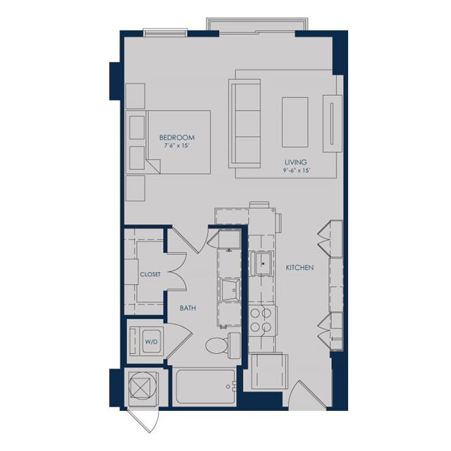 540 sq. ft. to 570 sq. ft. S18B floor plan
