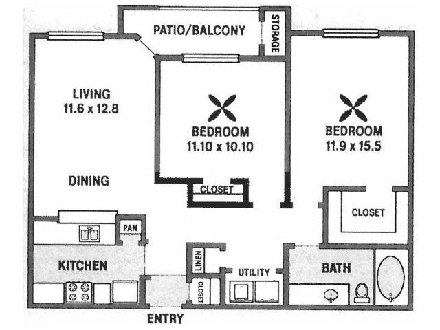 979 sq. ft. B3 floor plan