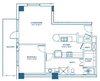 885 sq. ft. A4 floor plan