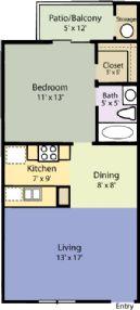 645 sq. ft. Cedar floor plan